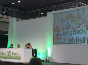 Ellie from Bring Back British Rail; the Campaign for better transport, rail unions, and others took part in the lively and wide-ranging debate