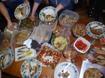 Little time to try a selection of so many appetising dishes at this pot luck feast