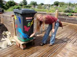 Reusing old wheelie bins into water butts at the Golden Hill Community Garden