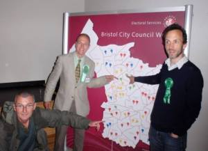 Charlie Bolton retakes Southville (which he previously held, and then was held by Tess Green for 4 years); Tim Malnick takes the second seat in Bishopston for the first time; and I won Redland for the Greens for the first time