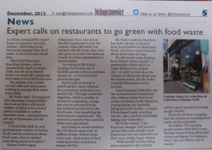 Reporting my work with local traders to offer a food waste and recycling service tailored to smaller businesses, in Bishopston Voice