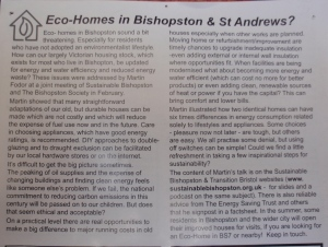 I ran a talk, and then offered a short course locally, to help residents understand simple ways to save energy and keep warm at home in our traditional houses in the area. Reported in Bishopston matters.