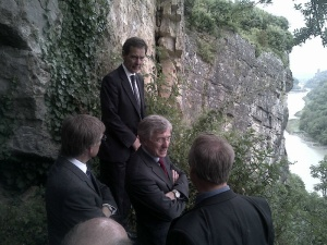 The Downs Committee, including the Master of the Merchant Venturers and the Lord Mayor, visit the collapsing cliff face.