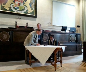 My swearing in ceremony at the council, May 2014, with the Lord Mayor and chief legal officer.